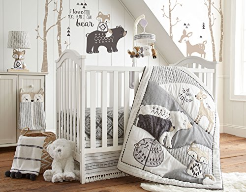 Levtex Baby Bailey Charcoal and White Woodland Themed 5 Piece Crib Bedding Set, Quilt, 100% Cotton Crib Fitted Sheet, 3-tiered Dust Ruffle, Diaper Stacker and Large Wall Decals
