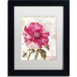 Trademark Fine Art Pink Peony Black Framed Wall Art, White