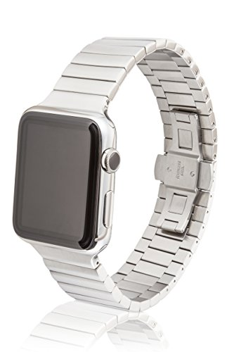 JUUK 38mm Revo Premium Watch Band Made for The Apple Watch, Made with Swiss Quality Using only The Highest Grade Solid 316L Stainless Steel with a Solid Steel Butterfly deployant Buckle (Brushed)