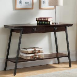Leick Furniture 2-Drawer Walnut Finish Sofa Table, Brown