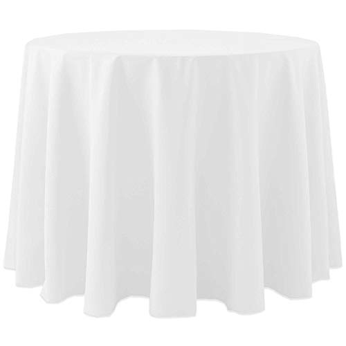 Ultimate Textile -10 Pack- Cotton-Feel 60-Inch Round Tablecloth – for Wedding and Banquet, Hotel or Home Fine Dining use, White