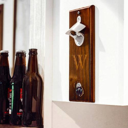 Cathy's Concepts Monogram Wall-Mounted Bottle Opener, Brown