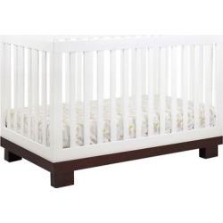 Babyletto Modo 3-in-1 Convertible Crib with Toddler Rail – White/Espresso (White/Brown)