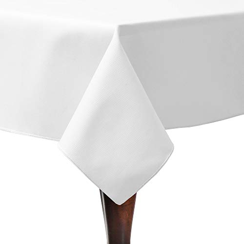 Ultimate Textile -5 Pack- Poly-Cotton Twill 60 x 90-Inch Rectangular Tablecloth – for Restaurant and Catering, Hotel or Home Dining use, White