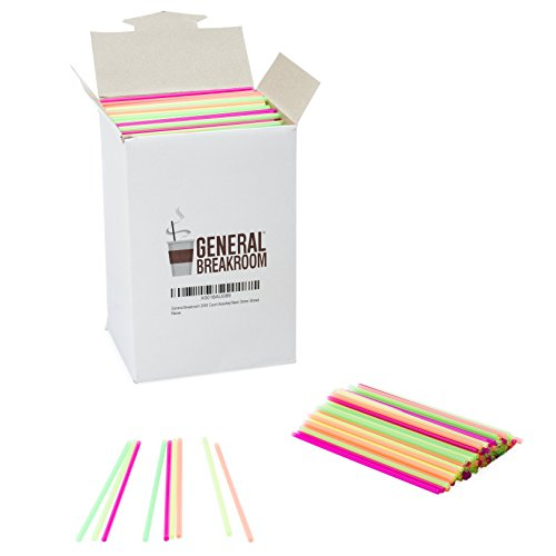 General Breakroom 2000-count, 5 1/2″ Coffee and Cocktail Drink Stirrer Straws, Assorted Neon, Pink, Yellow, Green, Orange
