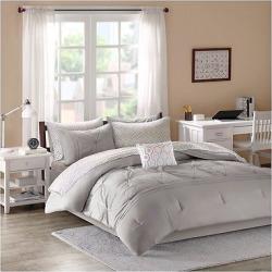 Gray Kara Comforter and Sheet Set (Twin)