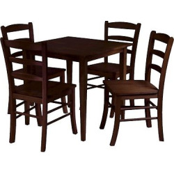 5 Piece Groveland Dining Table Set with 4 Chairs Wood/Antique Walnut – Winsome
