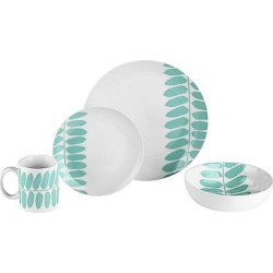Bzyoo Coppa 16pc Dinnerware Set Mint (Green) Leaf