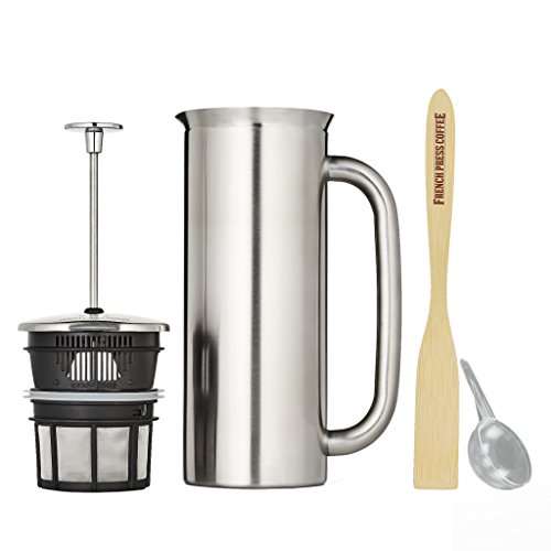 Espro Press P7, Stainless Steel French Press, Double Wall, Vacuum Insulated (6-8 cups, 32 ounce, Brushed) Bundle with Handcrafted Bamboo Paddle, Coffee Scoop