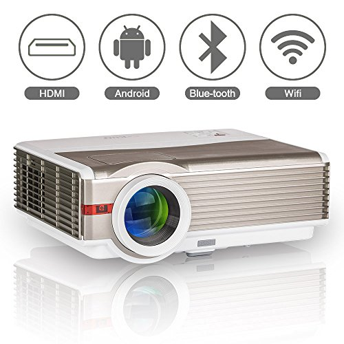 Bluetooth Wireless Projector for Home Cinema Theatre, EUG LED LCD HD Android Bluetooth Projector 4200 Lumens WXGA 1280×800 Resolution with WiFi HDMI USB VGA AV Audio Out for Videos Games TV DVD PS4