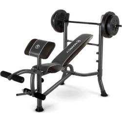 Marcy 10-piece Standard Weight Bench & 80-lb. Weight Set, Black