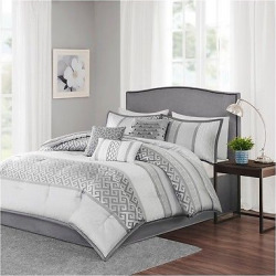 William Greek Key Print Comforter Set (Queen) Gray – 7pc