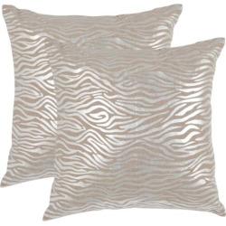 Safavieh Zebra Print 2-piece Linen Throw Pillow Set, Silver