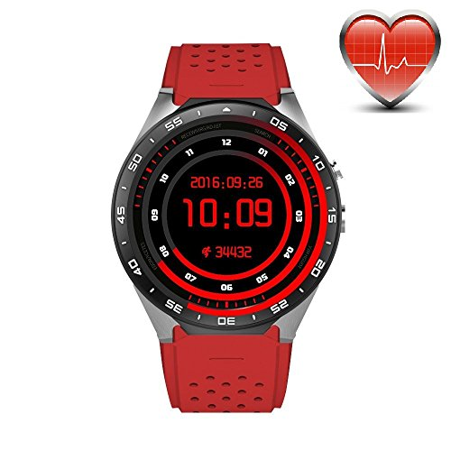 KW88 3G WIFI Smart Watch Cell Phone All-in-One Bluetooth Android 5.1 SIM Card with GPS,Camera,Heart Rate Monitor,Google map (Red)