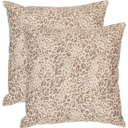 Earth Satin Leopard Throw Pillow Set Of 2 (20″x20″) – Safavieh