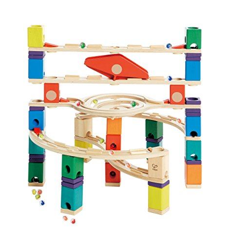 Hape Quadrilla Wooden Marble Run Construction – Loop de Loop – Quality Time Playing Together Wooden Safe Play – Smart Play for Smart Families