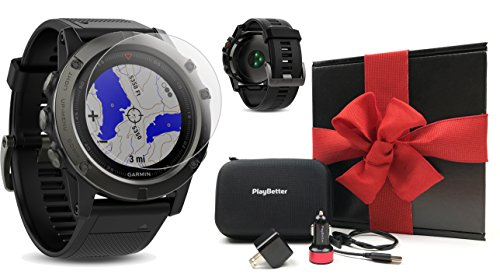 Garmin fenix 5X Sapphire (Slate Gray with Black Band) GIFT BOX Bundle   Includes Glass Screen Protector, PlayBetter USB Car & Wall Adapters, Protective Case   Multi-Sport GPS Watch, Wrist-HR/TOPO Maps