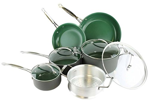 Orgreenic Ceramic Coated Non-Stick Cookware Set (10 Piece) by BulbHead – Cook Delicious Healthy Recipes the Safe Way