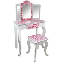 Kids Vanity Table and Stool Set Wood/Zebra – Teamson