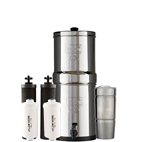 Bundle: Travel Berkey Water Filter System with 2 Black Purifier Filters (1.5 Gallons) Bundled with 1 Set of (2) Fluoride (PF2) Filters and 1 BX Double Walled 20 oz Stainless Steel Tumbler Cup