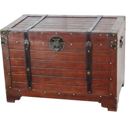 Old Fashioned Wood Storage Trunk Wooden Treasure Hope Chest – Quickway Imports, Brown
