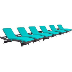 Convene Chaise Outdoor Patio Set of 6 in Espresso Turquoise – Modway