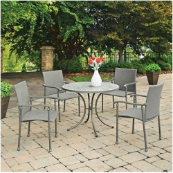 Umbria Concrete Tile 5 Pc Round Outdoor Table And 4 Chairs – Gray – Home Styles