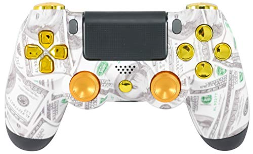 Custom Soft Touch Benjamins Gold $100 Money Print PS4 UN-Modded Controller Mod Metal Thumbsticks Slim/Pro cuh-zct2u