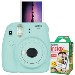Fujifilm Instax Mini 9 Instant Camera Bundle, Light Blue