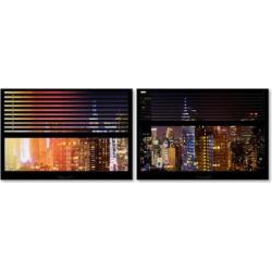 Trademark Fine Art Window View Manhattan Night 4 2-pc. Framed Wall Art Set, Black