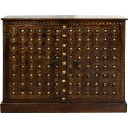 Solid Mango 2 Door Wood Storage Cabinet with Metal Brass Design Accents – Chestnut – Stylecraft, Brown