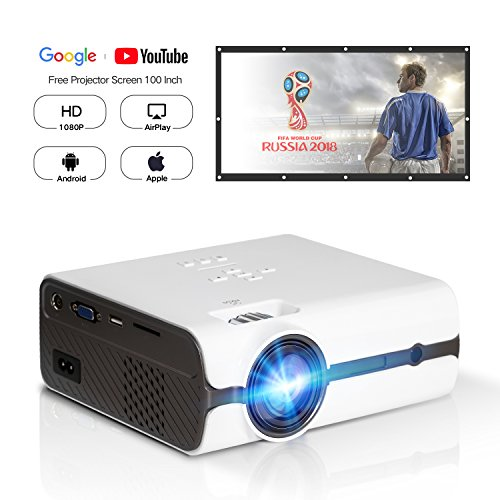 DOACE P3 HD 1080P Video Projector with Portable Screen 100″ for Indoor Outdoor Use, Home Theater Projector Support USB SD Card VGA AV for Home Cinema TV Laptop Game Smartphone with Free AV Cable