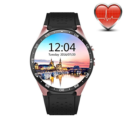 KW88 3G WIFI Smart Watch Cell Phone All-in-One Bluetooth Android 5.1 SIM Card with GPS,Camera,Heart Rate Monitor,Google map (Black/Gold)