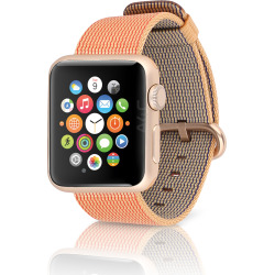 Apple Watch Sport 38mm Aluminum Gold Case w/ Woven Nylon Band – Gold / Red (Refurbished)