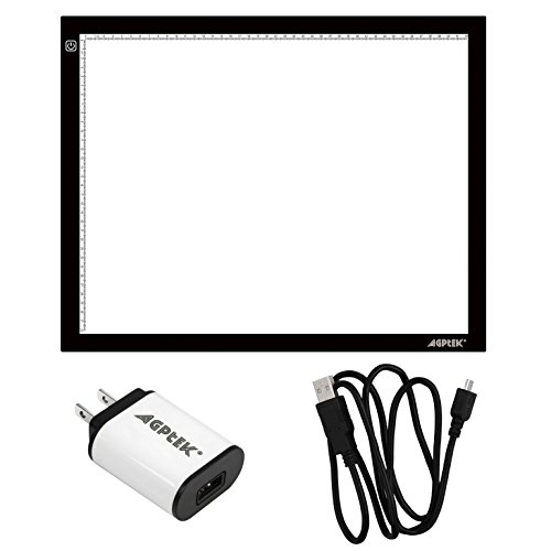 AGPTEK A3 Drawing Pad, 118.5″ Adjustable Brightness Tattoo Tracing Pad, LED Art Graphics Table Light Box for Aniamtion, Sketching, Designing, Stencilling, Drawing,Sewing