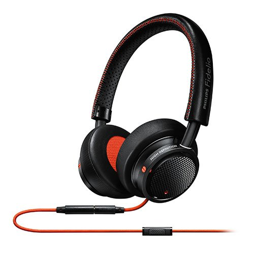 Philips M1MKIIBO/27 Fidelio M1 MKII Premium Headphones with In-line control and mic switch between music and calls and stitched fine leather, Black/Orange