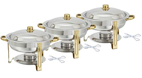 Tiger Chef 3-Pack 4 Quart Round Chafing Dish Buffet Warmer Set, Gold Accented Chafer, Includes Plastic Tong