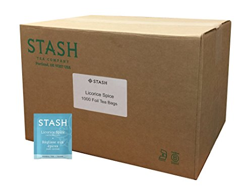 Stash Tea Licorice Spice Herbal Tea 1000 Tea Bags in 8.35 Pound Box, Tea Bags Individually Wrapped in Foil, Naturally Sweet Herbal Tisane, Zero Caffeine, Drink Hot or Iced