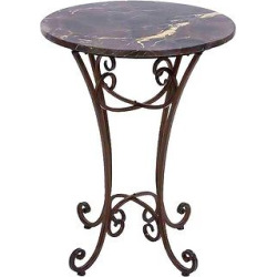 Metal Marble Accent Table Classic Space Filler – Benzara, Bluish Gray