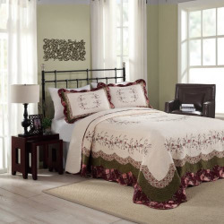 Peking Brooke Quilted Bedspread, Red