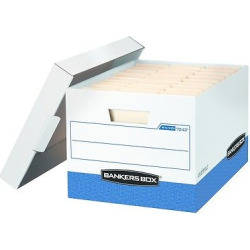 Bankers Box R-Kive Max Storage Box, Letter/Legal, Locking Lid, White/Blue, 12/Carton (07243)