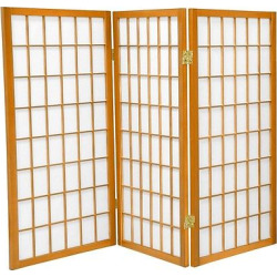3 ft. Tall Window Pane Shoji Screen – Honey (3 Panels) – Oriental Furniture, Pumpkin