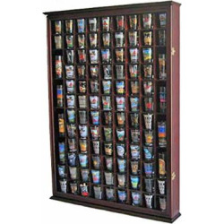 100 Shot Glass Display Case Holder Shadow Box Wall Cabinet, with Acrylic Door (Mahogany Finish)
