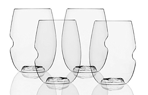 Govino Dishwasher Safe Flexible Shatterproof Recyclable Wine Glasses, 16-ounce, Bulk Case of 72