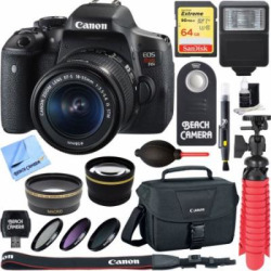 Canon EOS Rebel T6i Digital SLR Camera Wifi + EF-S 18-55mm IS STM Lens Kit + Accessory Bundle 32GB SDHC Memory + DSLR Photo Bag + Wide Angle Lens + 2x Telephoto Lens + Flash + Remote + Tripod & More
