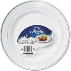 WNA Masterpiece Plastic Plates, 10.25 in, White w/Silver Accents, Round, 120/Carton (RSM101210WS)