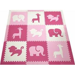 SoftTiles Kids Play Mats- Safari Animals- Premium Interlocking Foam Playmat for Children, Toddlers and Babies 78″ x 78″ (Pink, White, Light Pink) SCSAFPWC