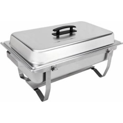 Sterno 70153 Foldable Frame Buffet Chafer Set, 8 quart, Silver (4)