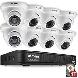 zosi 8 channel 720p hd-tvi security camera system 1080n dvr reorder with 1tb hard drive and (8) hd 1280tvl outdoor/indoor weatherproof surveillance cctv cameras with motion detection