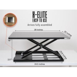 Standing Desk – X-Elite Pro Height Adjustable Desk Converter – Size 28in x 20in Instantly Convert any Desk to a Sit / Stand up Desk (Black)